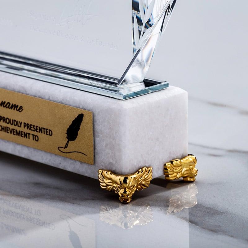 诺格精艺水晶奖杯大理石奖牌系列材质细节-成都水晶奖杯定制
