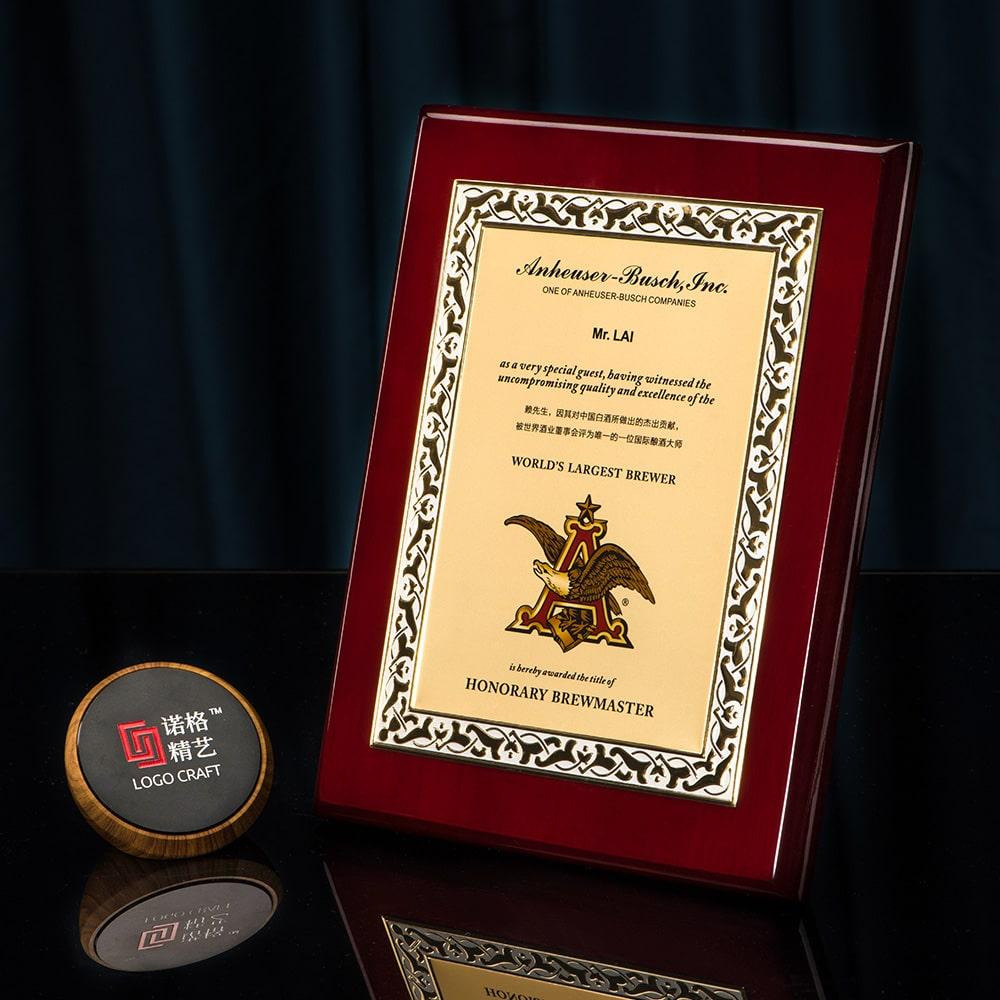诺格精艺进口钢琴漆奖牌金色镜面浮雕效果-成都高端奖牌定制