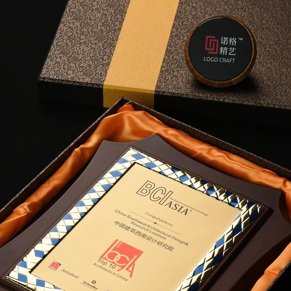 诺格精艺进口八角花边铝片奖牌礼盒搭配-成都高端奖牌定制