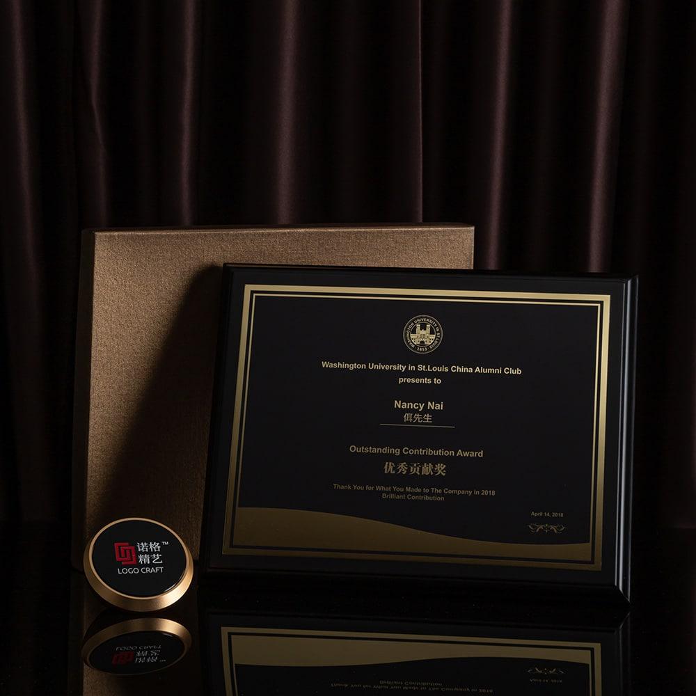 诺格精艺黑骑士钛金花边奖牌搭配礼盒-成都高端奖牌定制