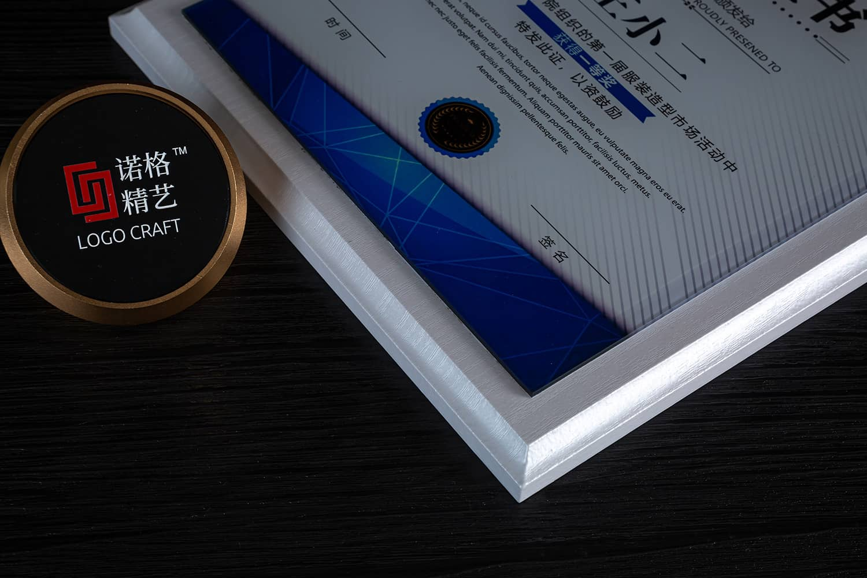诺格精艺白珍珠水晶奖牌细节-成都高端奖牌定制