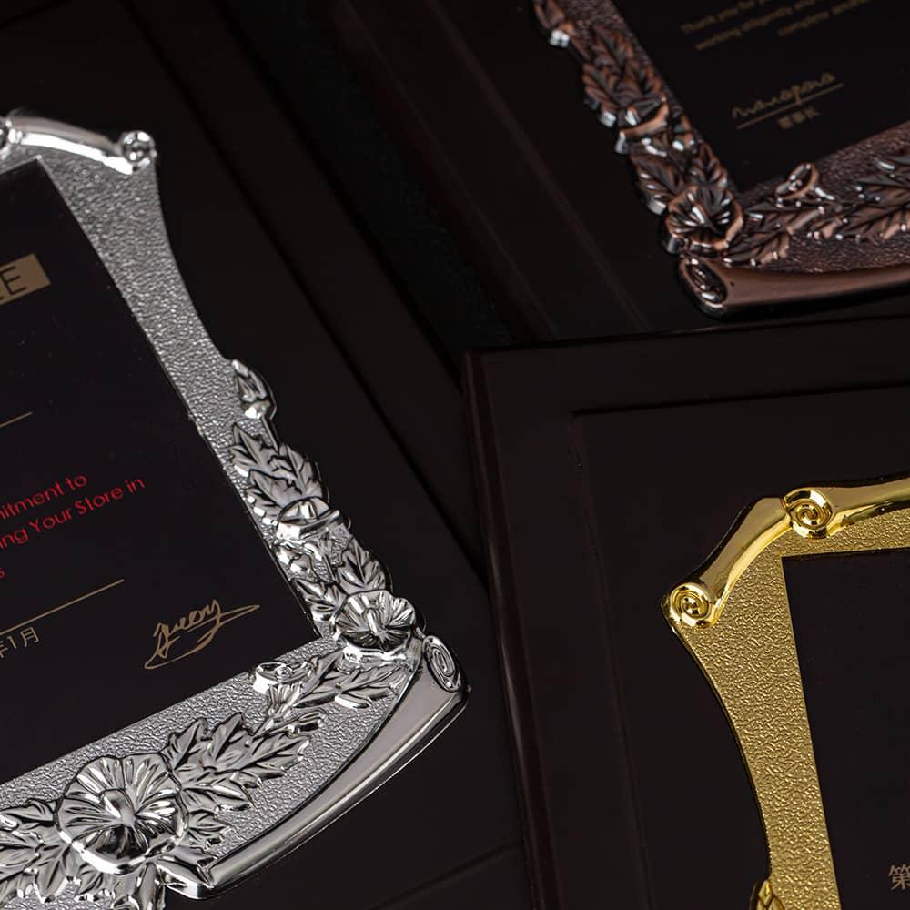 诺格精艺典雅花框奖牌金银铜花边细节-成都高端奖牌定制