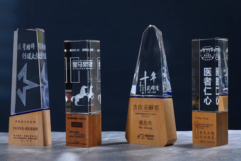 诺格精艺成都实木水晶奖杯定制-实木水晶奖杯系列1