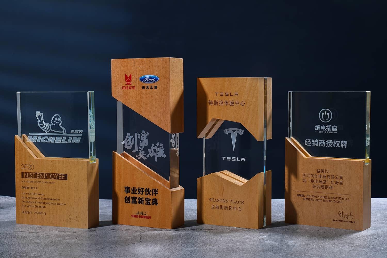 诺格精艺成都实木水晶奖杯定制-实木水晶奖杯系列2